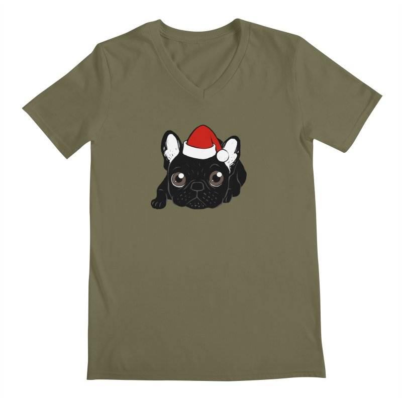 Brindle Frenchie loves Christmas season Men's Regular V-Neck by Emotional Frenchies - Cute French Bulldog T-shirts