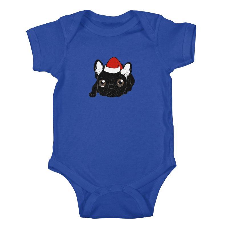 Brindle Frenchie loves Christmas season Kids Baby Bodysuit by Emotional Frenchies - Cute French Bulldog T-shirts