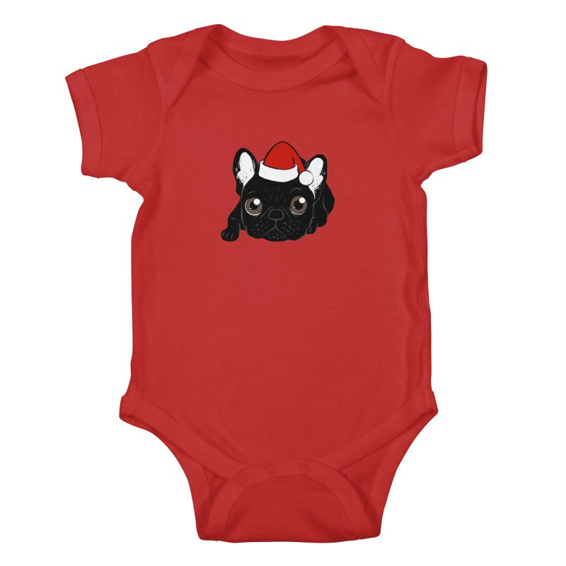 Brindle Frenchie loves Christmas season Kids Baby Bodysuit by Emotional Frenchies - Cute French Bulldog T-shirts