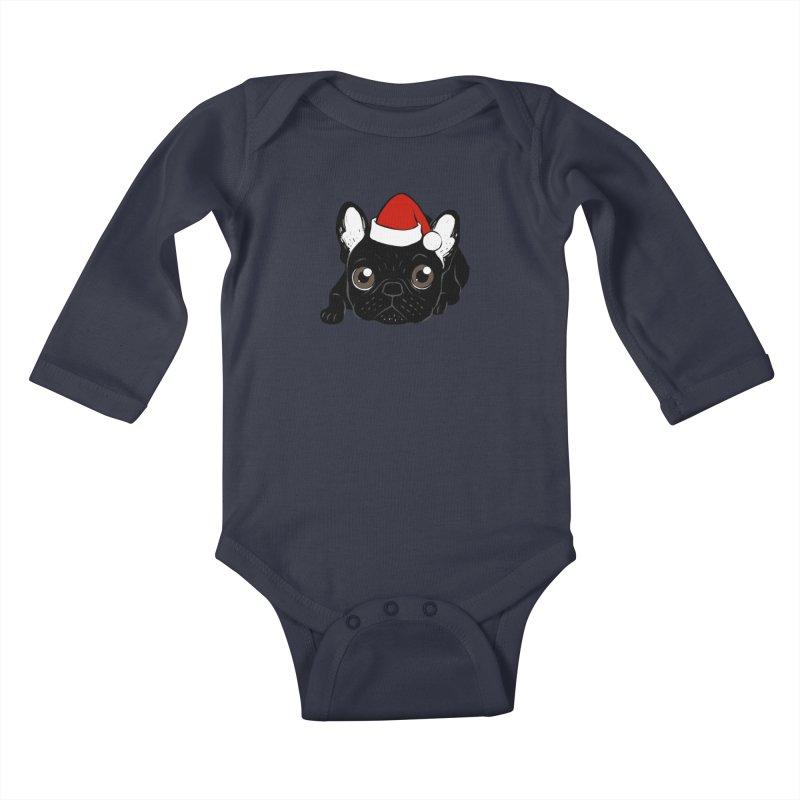 Brindle Frenchie loves Christmas season Kids Baby Longsleeve Bodysuit by Emotional Frenchies - Cute French Bulldog T-shirts