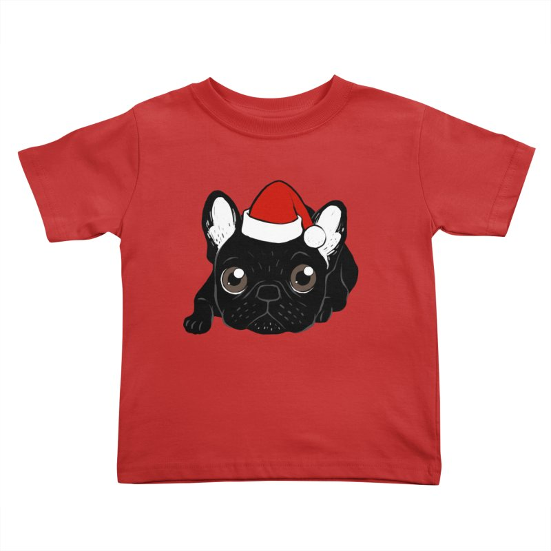 Brindle Frenchie loves Christmas season Kids Toddler T-Shirt by Emotional Frenchies - Cute French Bulldog T-shirts