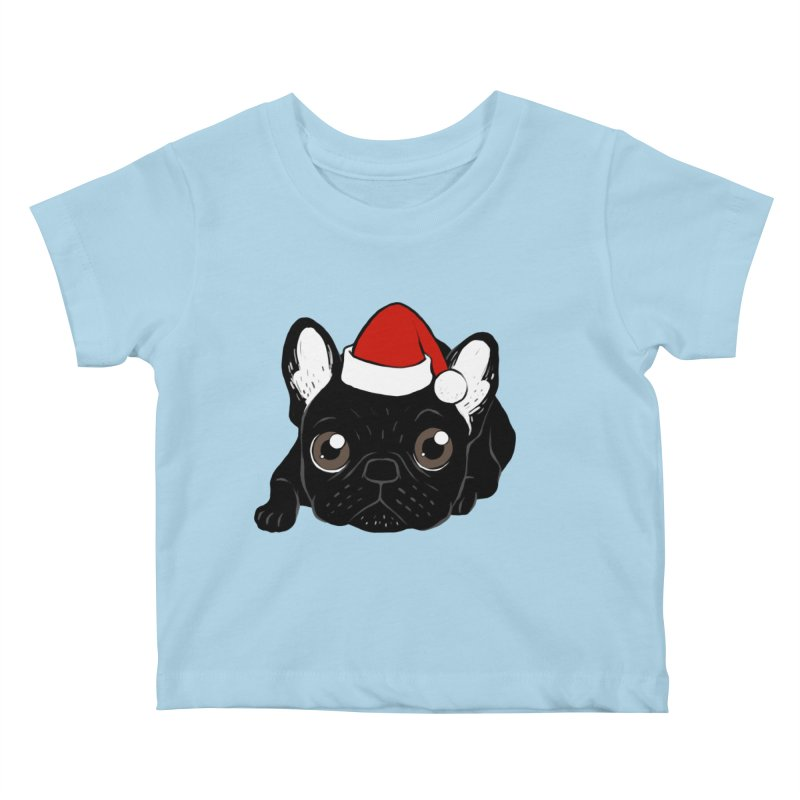 Brindle Frenchie loves Christmas season Kids Baby T-Shirt by Emotional Frenchies - Cute French Bulldog T-shirts