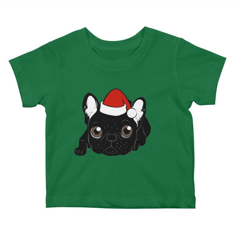 Brindle Frenchie loves Christmas season Kids Baby T-Shirt by Emotional Frenchies - Cute French Bulldog T-shirts