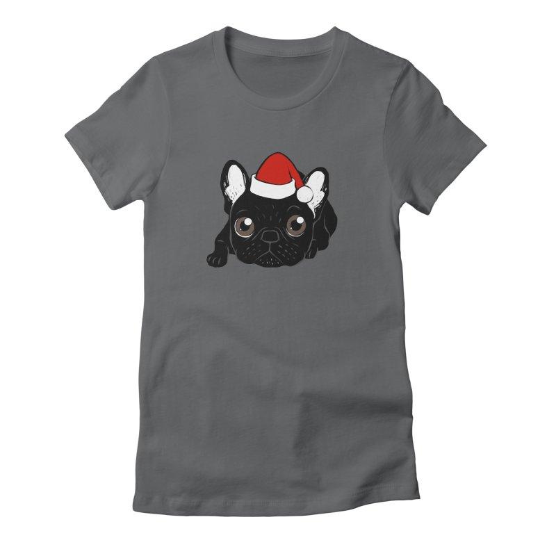Brindle Frenchie loves Christmas season Women's T-Shirt by Emotional Frenchies - Cute French Bulldog T-shirts