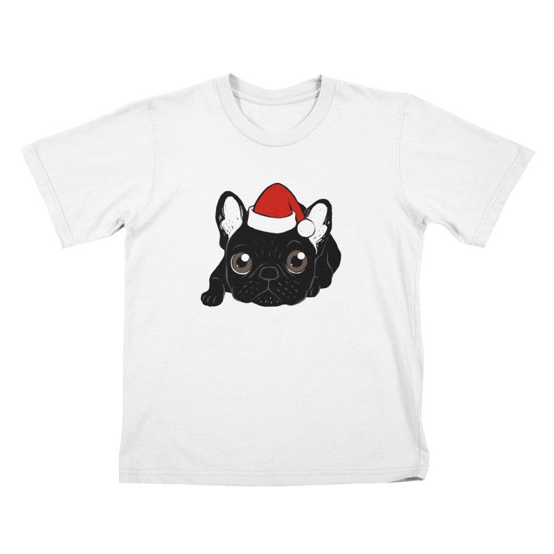Brindle Frenchie loves Christmas season Kids T-Shirt by Emotional Frenchies - Cute French Bulldog T-shirts