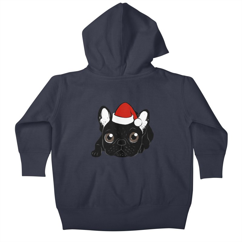 Brindle Frenchie loves Christmas season Kids Baby Zip-Up Hoody by Emotional Frenchies - Cute French Bulldog T-shirts