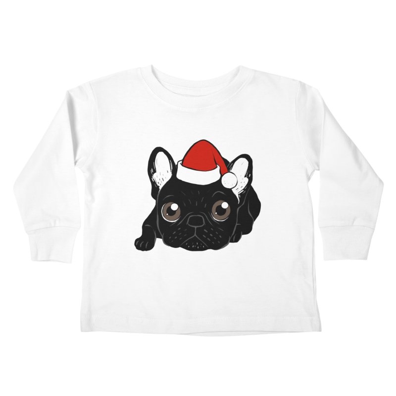 Brindle Frenchie loves Christmas season Kids Toddler Longsleeve T-Shirt by Emotional Frenchies - Cute French Bulldog T-shirts