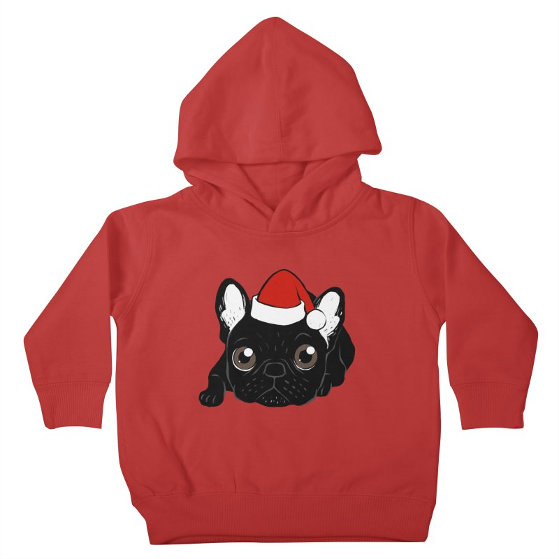 Brindle Frenchie loves Christmas season Kids Toddler Pullover Hoody by Emotional Frenchies - Cute French Bulldog T-shirts