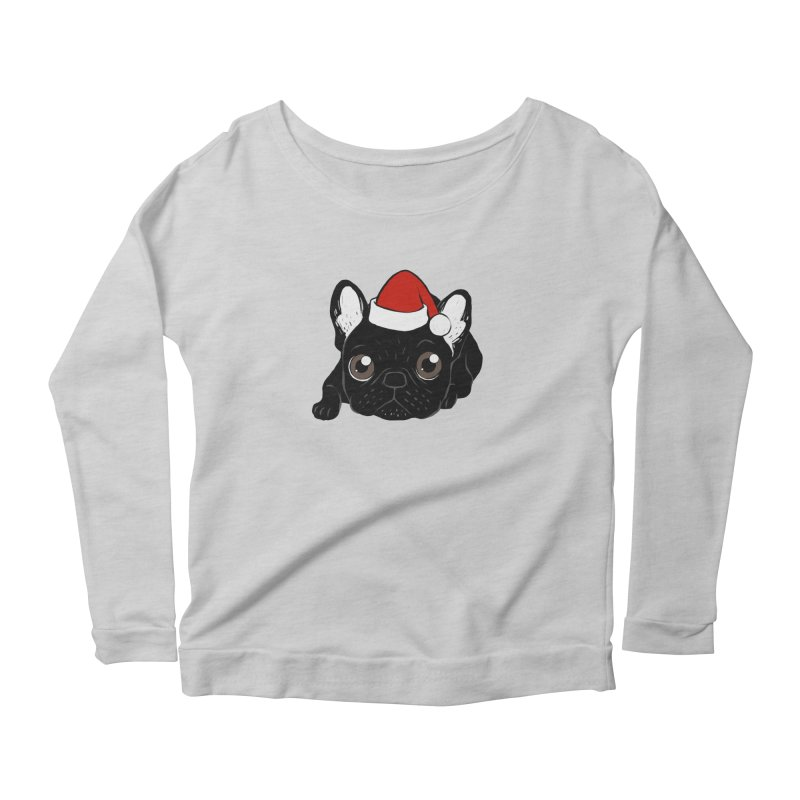 Brindle Frenchie loves Christmas season in Women's Scoop Neck Longsleeve T-Shirt Heather Grey by Emotional Frenchies - Cute French Bulldog T-shirts