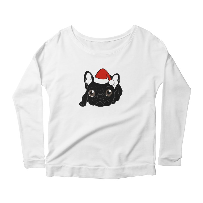 Brindle Frenchie loves Christmas season Women's Scoop Neck Longsleeve T-Shirt by Emotional Frenchies - Cute French Bulldog T-shirts