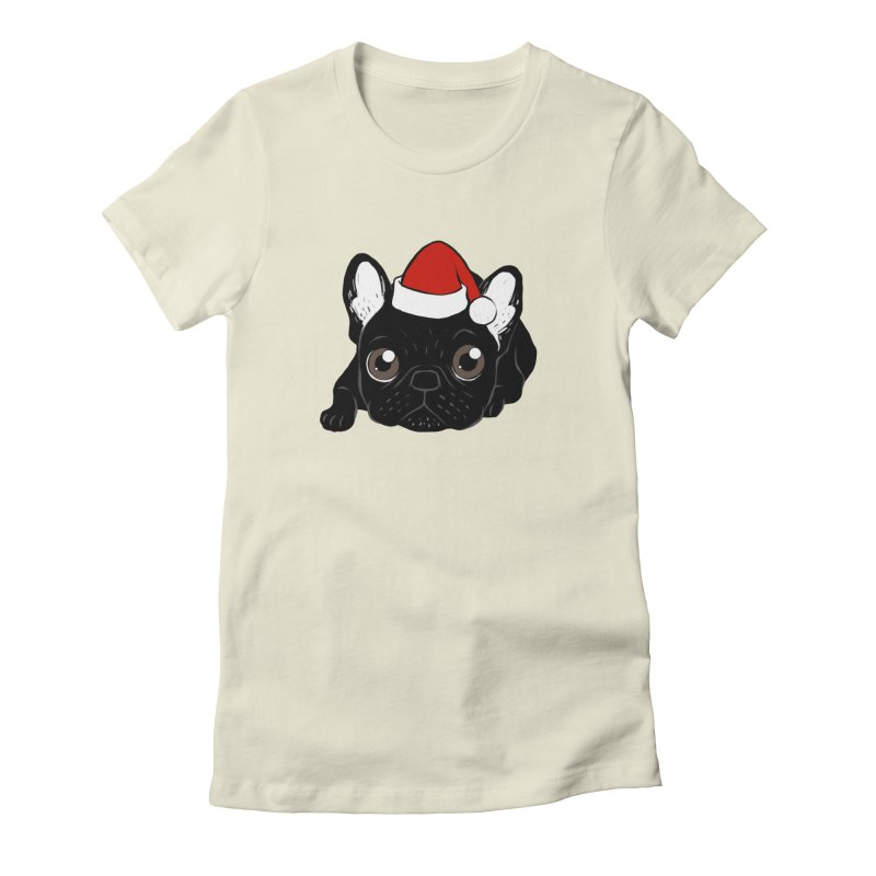 Brindle Frenchie loves Christmas season Women's Fitted T-Shirt by Emotional Frenchies - Cute French Bulldog T-shirts