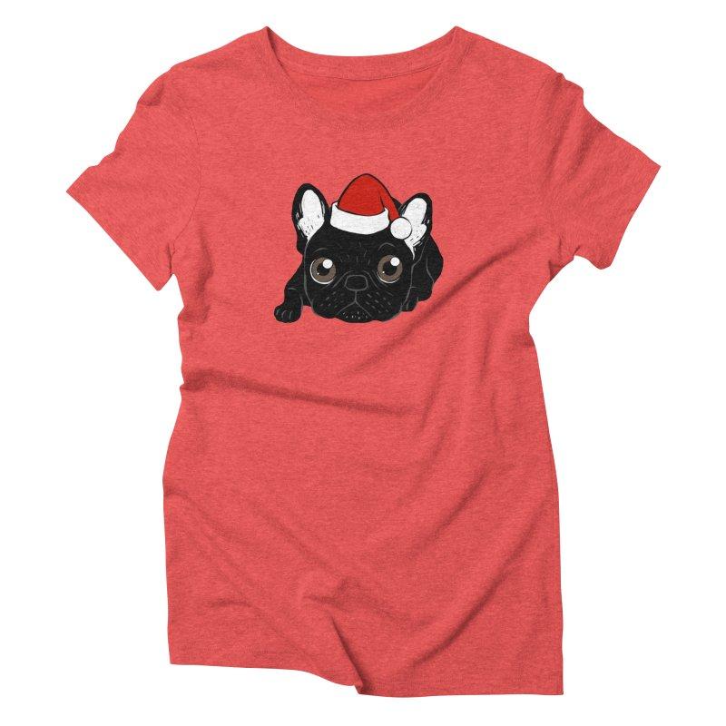 Brindle Frenchie loves Christmas season Women's Triblend T-Shirt by Emotional Frenchies - Cute French Bulldog T-shirts