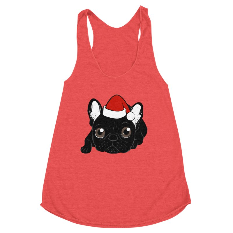 Brindle Frenchie loves Christmas season Women's Racerback Triblend Tank by Emotional Frenchies - Cute French Bulldog T-shirts