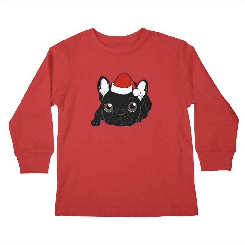 Brindle Frenchie loves Christmas season Kids Longsleeve T-Shirt by Emotional Frenchies - Cute French Bulldog T-shirts