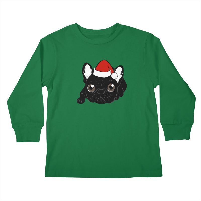 Brindle Frenchie loves Christmas season Kids Longsleeve T-Shirt by Emotional Frenchies - Cute French Bulldog T-shirts