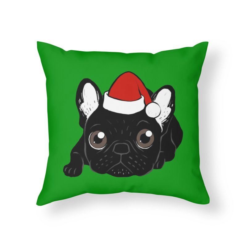 Brindle Frenchie loves Christmas season Home Throw Pillow by Emotional Frenchies - Cute French Bulldog T-shirts