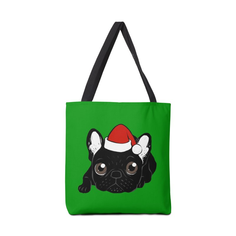 Brindle Frenchie loves Christmas season Accessories Tote Bag Bag by Emotional Frenchies - Cute French Bulldog T-shirts