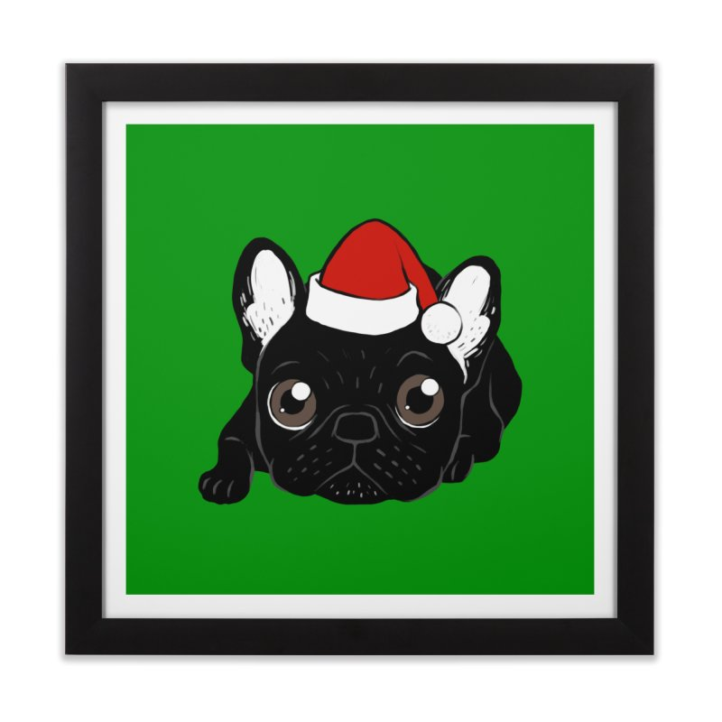 Brindle Frenchie loves Christmas season Home Framed Fine Art Print by Emotional Frenchies - Cute French Bulldog T-shirts