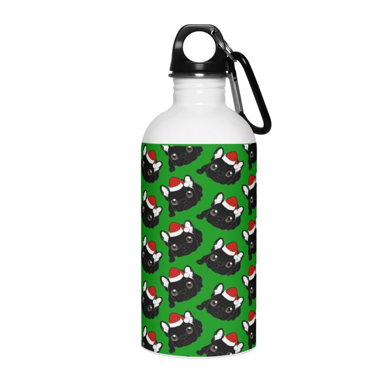 Brindle Frenchie loves Christmas season Accessories Water Bottle by Emotional Frenchies - Cute French Bulldog T-shirts