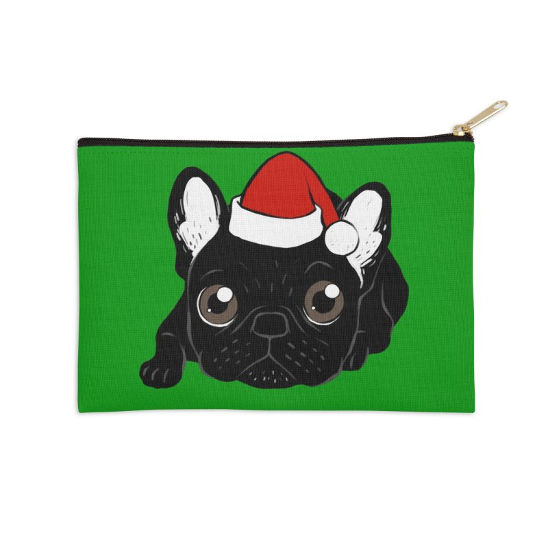 Brindle Frenchie loves Christmas season Accessories Zip Pouch by Emotional Frenchies - Cute French Bulldog T-shirts