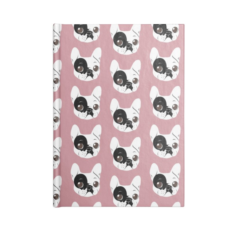 Single Hooded Pied French Bulldog Puppy Accessories Blank Journal Notebook by Emotional Frenchies - Cute French Bulldog T-shirts