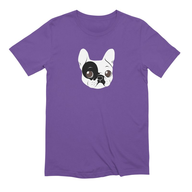 Single Hooded Pied French Bulldog Puppy Men's Extra Soft T-Shirt by Emotional Frenchies - Cute French Bulldog T-shirts
