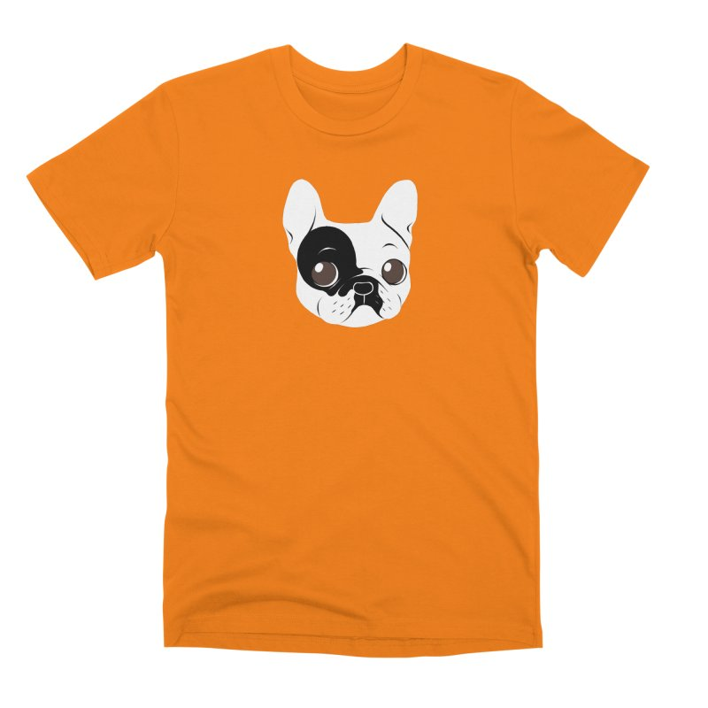 Single Hooded Pied French Bulldog Puppy Men's Premium T-Shirt by Emotional Frenchies - Cute French Bulldog T-shirts