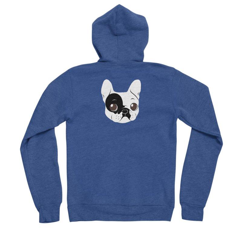 Single Hooded Pied French Bulldog Puppy Women's Sponge Fleece Zip-Up Hoody by Emotional Frenchies - Cute French Bulldog T-shirts