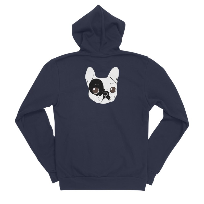 Single Hooded Pied French Bulldog Puppy Women's Sponge Fleece Zip-Up Hoody by Emotional Frenchies - Cute French Bulldog T-shirts