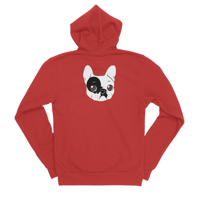 Single Hooded Pied French Bulldog Puppy Women's Zip-Up Hoody by Emotional Frenchies - Cute French Bulldog T-shirts
