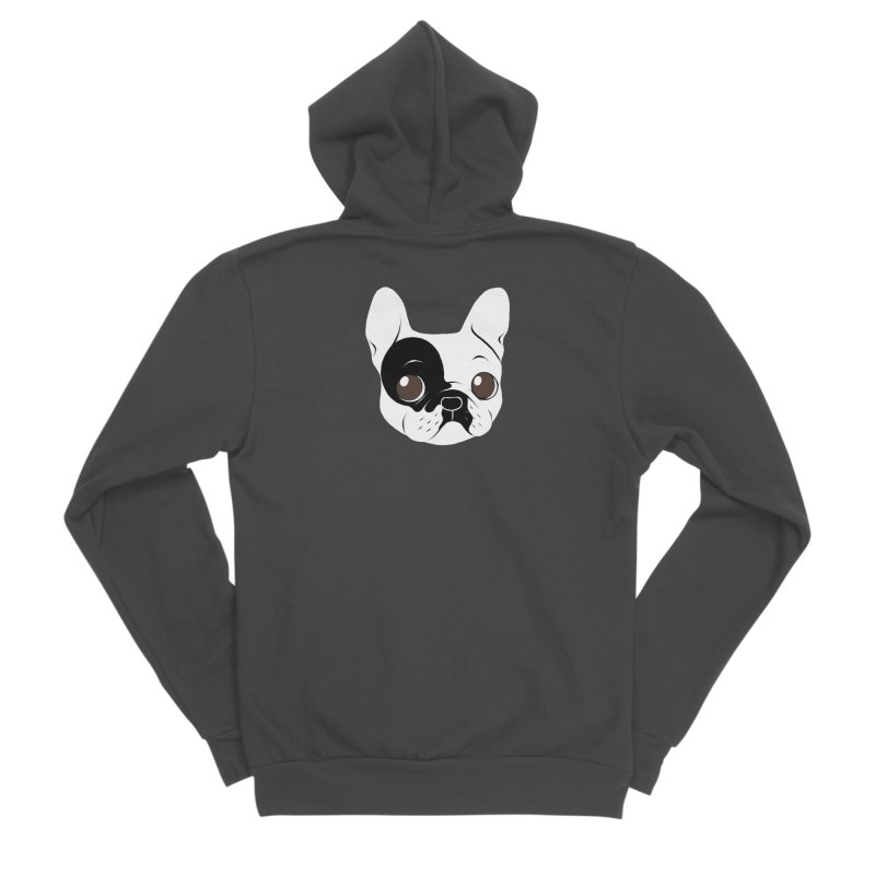Single Hooded Pied French Bulldog Puppy Men's Sponge Fleece Zip-Up Hoody by Emotional Frenchies - Cute French Bulldog T-shirts