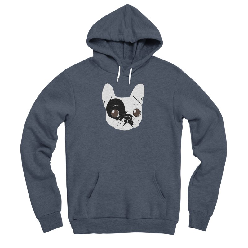 Single Hooded Pied French Bulldog Puppy Men's Sponge Fleece Pullover Hoody by Emotional Frenchies - Cute French Bulldog T-shirts
