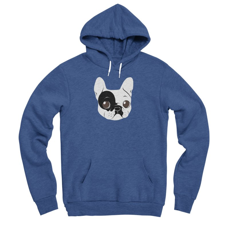 Single Hooded Pied French Bulldog Puppy Women's Sponge Fleece Pullover Hoody by Emotional Frenchies - Cute French Bulldog T-shirts