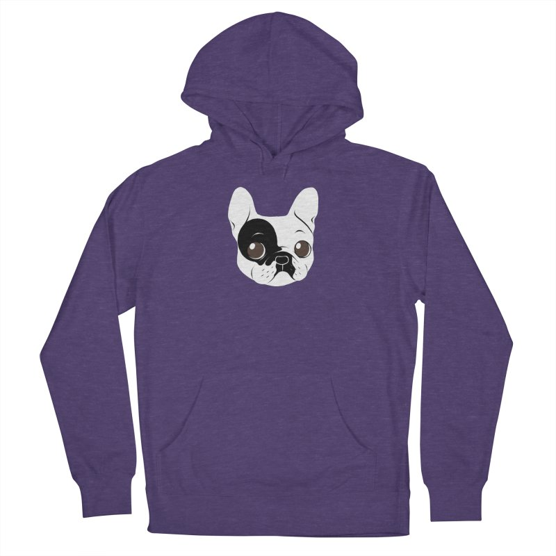 Single Hooded Pied French Bulldog Puppy Men's French Terry Pullover Hoody by Emotional Frenchies - Cute French Bulldog T-shirts
