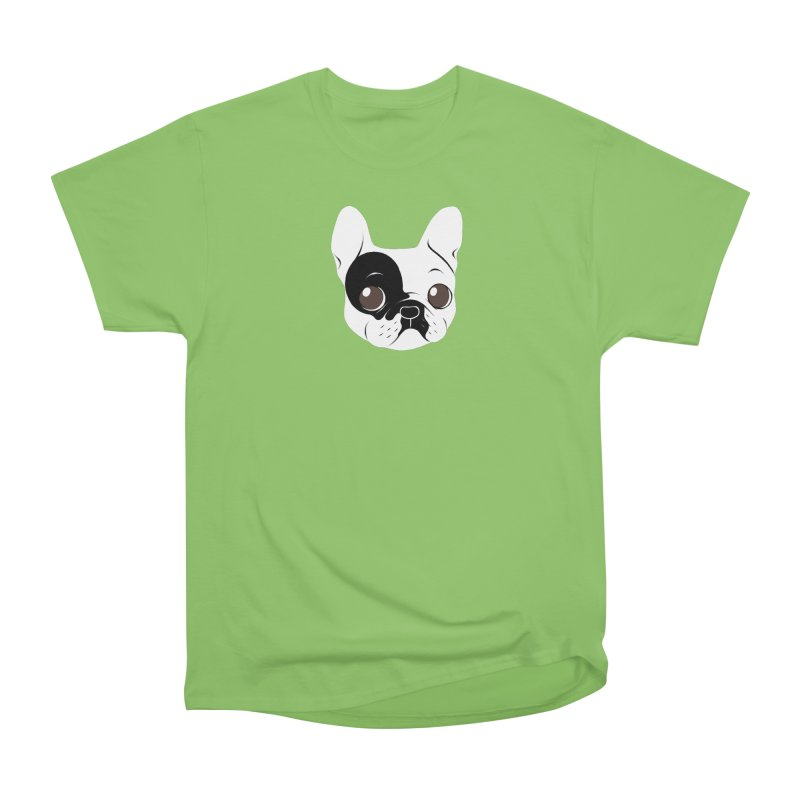 Single Hooded Pied French Bulldog Puppy Men's Heavyweight T-Shirt by Emotional Frenchies - Cute French Bulldog T-shirts