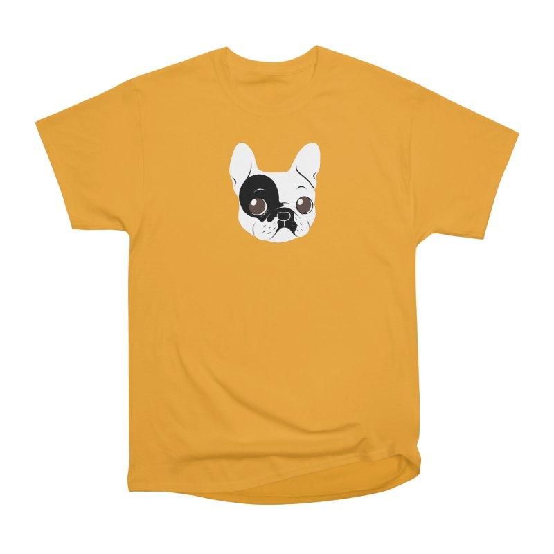 Single Hooded Pied French Bulldog Puppy Women's Heavyweight Unisex T-Shirt by Emotional Frenchies - Cute French Bulldog T-shirts