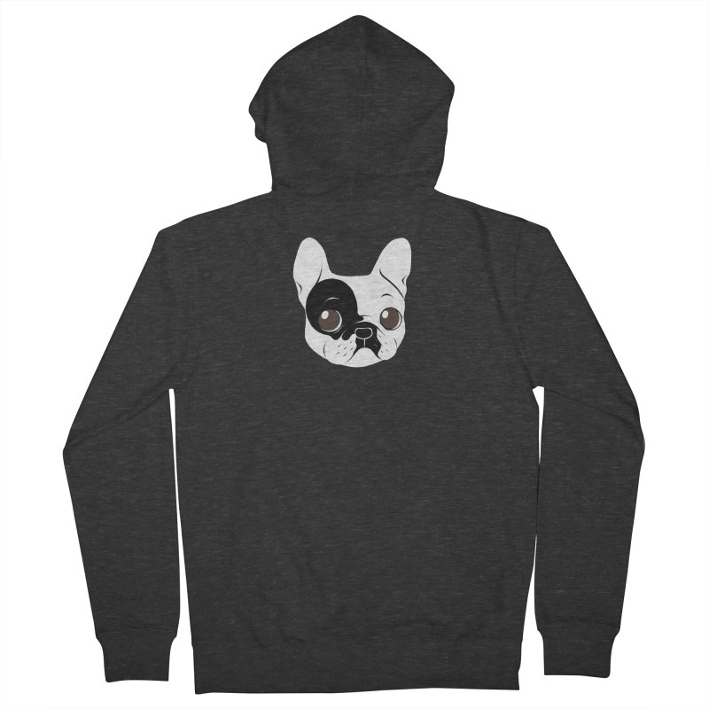 Single Hooded Pied French Bulldog Puppy Women's French Terry Zip-Up Hoody by Emotional Frenchies - Cute French Bulldog T-shirts