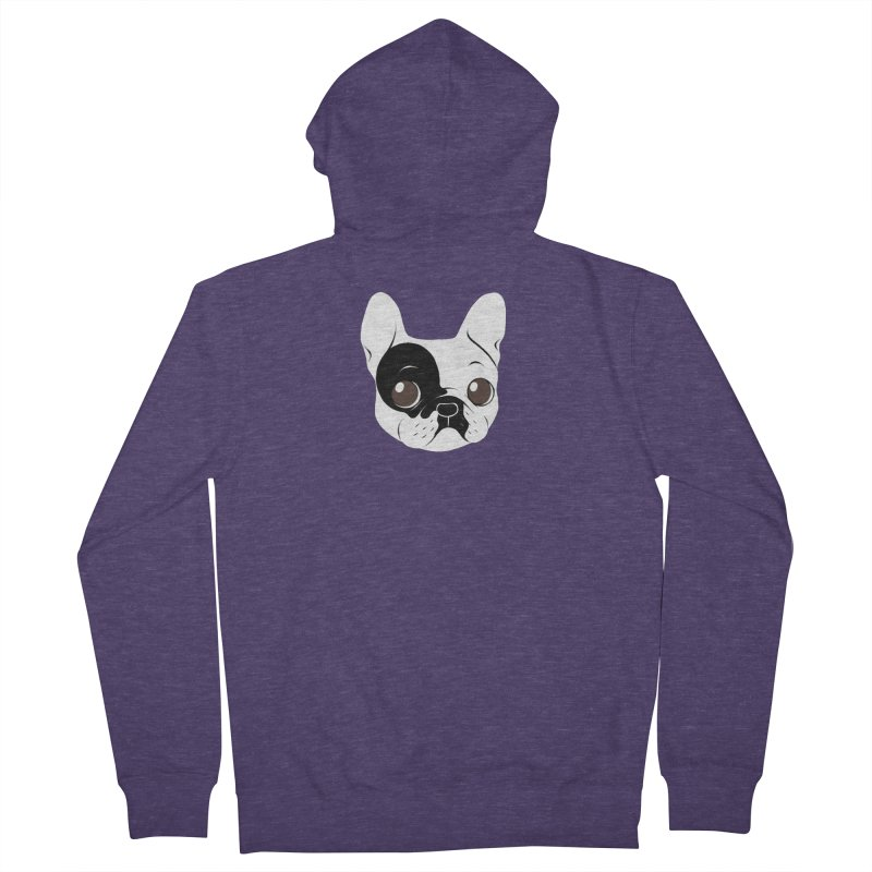 Single Hooded Pied French Bulldog Puppy Men's French Terry Zip-Up Hoody by Emotional Frenchies - Cute French Bulldog T-shirts