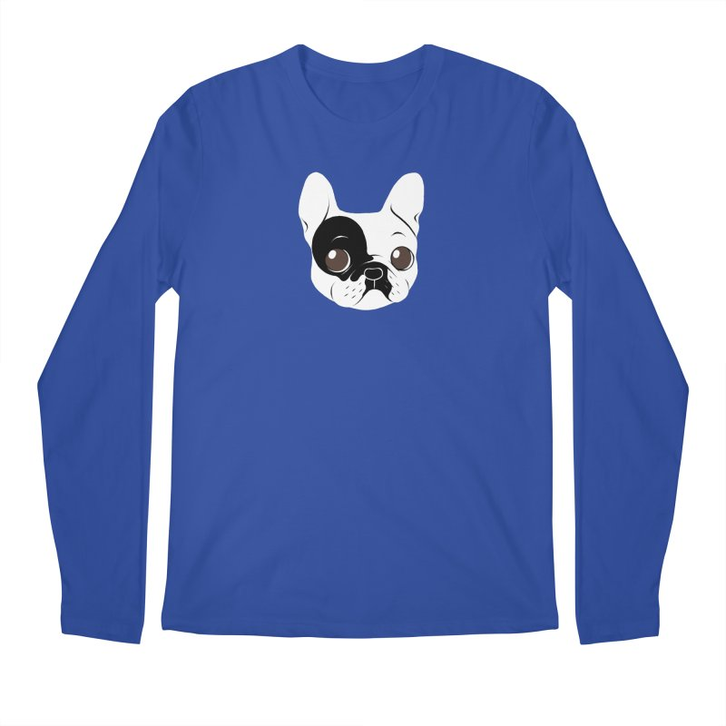 Single Hooded Pied French Bulldog Puppy Men's Regular Longsleeve T-Shirt by Emotional Frenchies - Cute French Bulldog T-shirts
