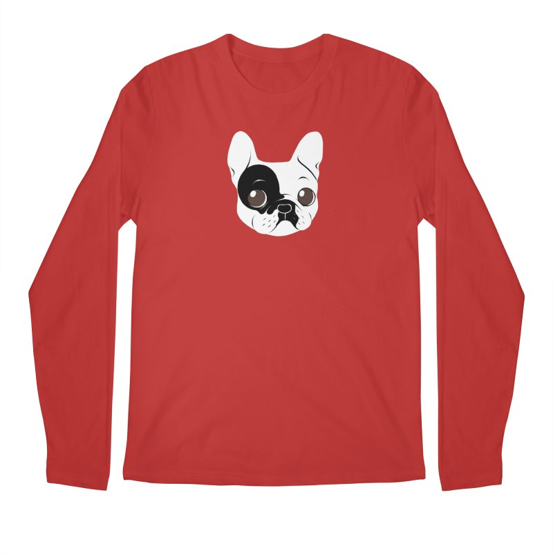 Single Hooded Pied French Bulldog Puppy Men's Longsleeve T-Shirt by Emotional Frenchies - Cute French Bulldog T-shirts