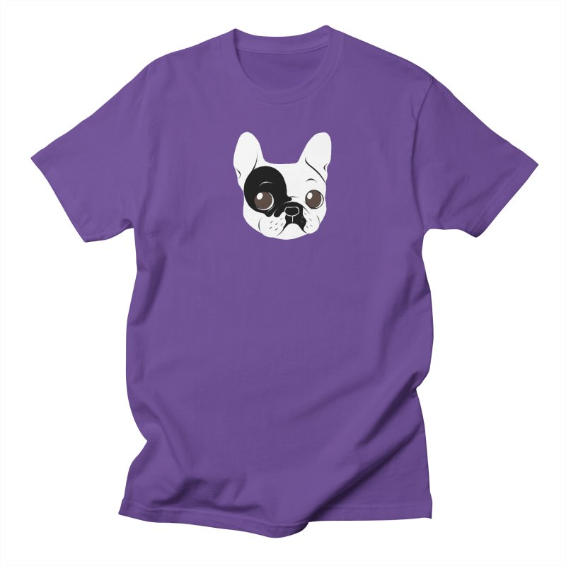 Single Hooded Pied French Bulldog Puppy Men's Regular T-Shirt by Emotional Frenchies - Cute French Bulldog T-shirts