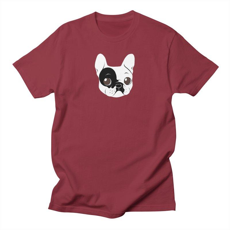 Single Hooded Pied French Bulldog Puppy Men's Regular T-Shirt by Emotional Frenchies - Cute French Bulldog T-shirts