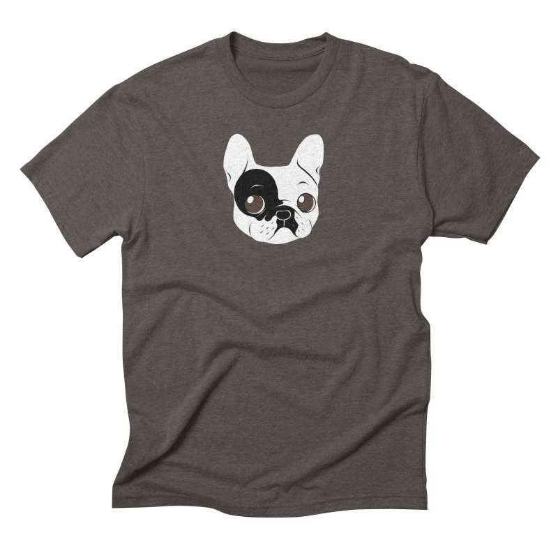 Single Hooded Pied French Bulldog Puppy Men's Triblend T-Shirt by Emotional Frenchies - Cute French Bulldog T-shirts
