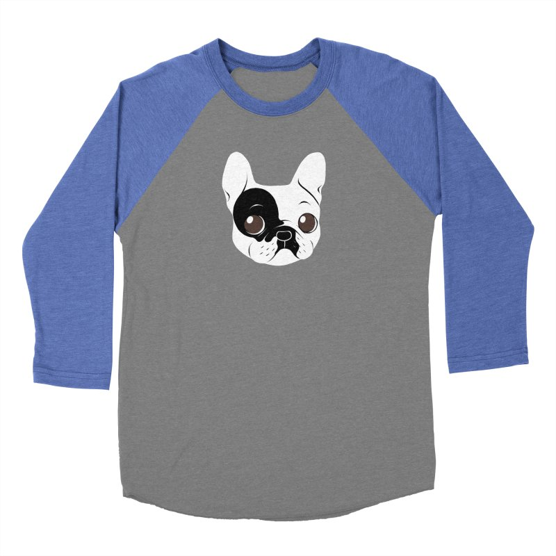 Single Hooded Pied French Bulldog Puppy Women's Baseball Triblend Longsleeve T-Shirt by Emotional Frenchies - Cute French Bulldog T-shirts