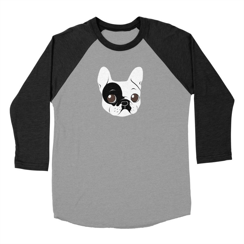 Single Hooded Pied French Bulldog Puppy Women's Baseball Triblend Longsleeve T-Shirt by Emotional Frenchies - Cute French Bulldog T-shirts