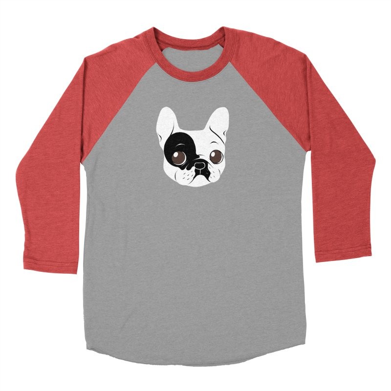 Single Hooded Pied French Bulldog Puppy Men's Baseball Triblend Longsleeve T-Shirt by Emotional Frenchies - Cute French Bulldog T-shirts