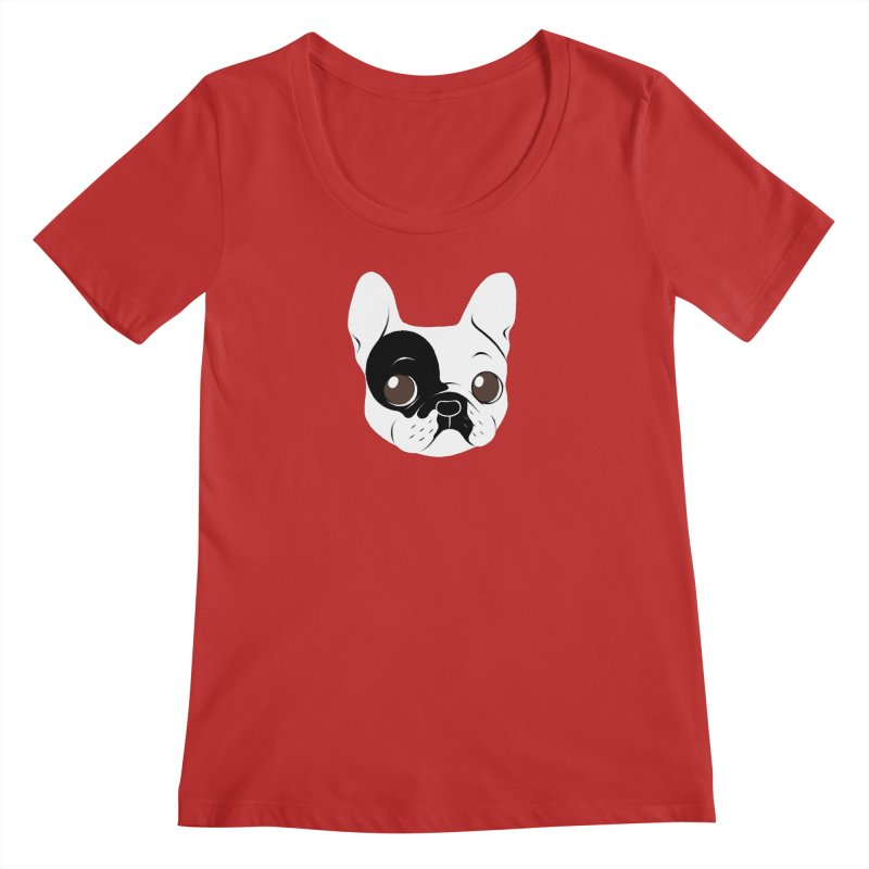 Single Hooded Pied French Bulldog Puppy Women's Regular Scoop Neck by Emotional Frenchies - Cute French Bulldog T-shirts