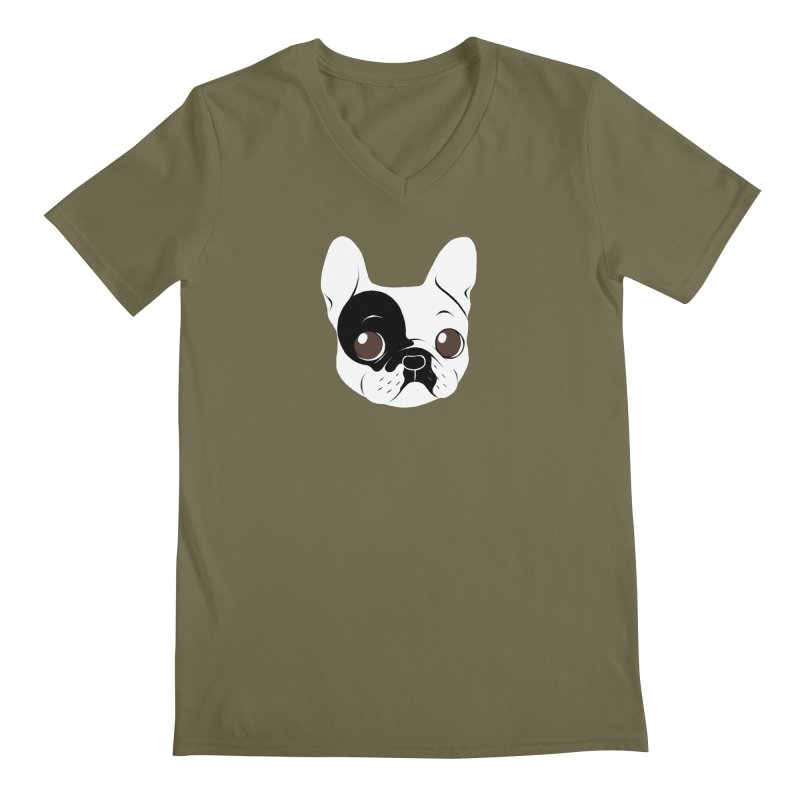 Single Hooded Pied French Bulldog Puppy Men's Regular V-Neck by Emotional Frenchies - Cute French Bulldog T-shirts