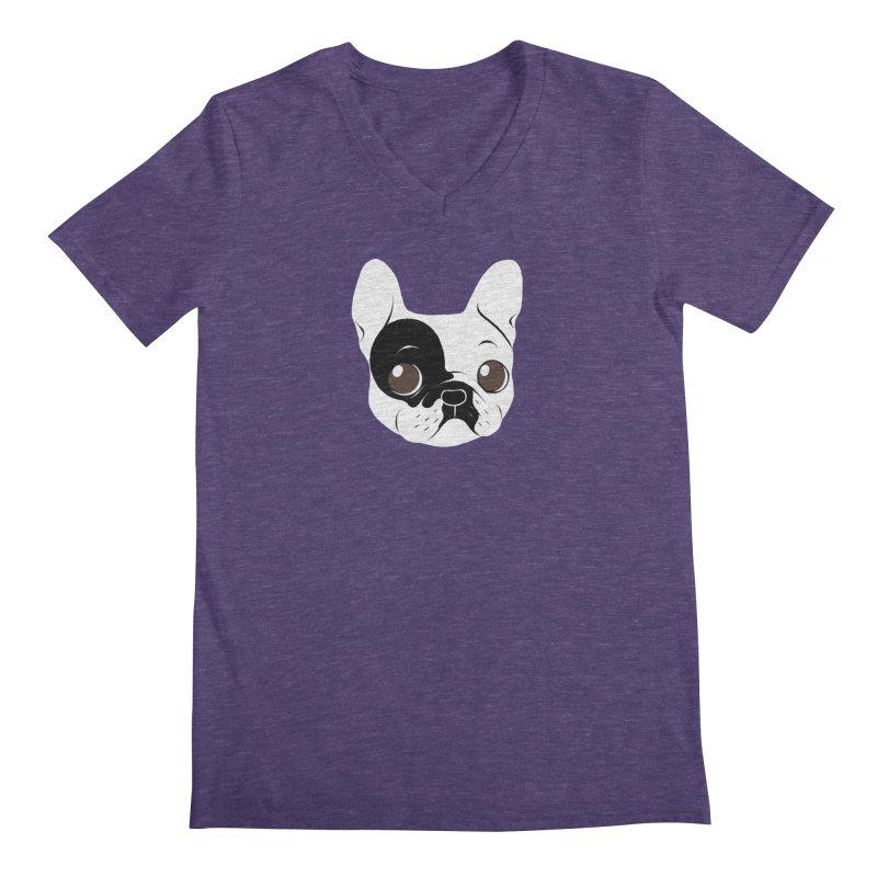 Single Hooded Pied French Bulldog Puppy Men's Regular V-Neck by Emotional Frenchies - Cute French Bulldog T-shirts
