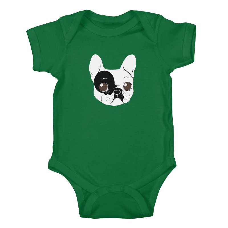 Single Hooded Pied French Bulldog Puppy Kids Baby Bodysuit by Emotional Frenchies - Cute French Bulldog T-shirts